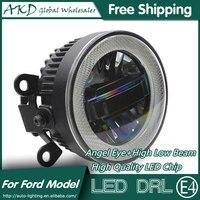 AKD xe Styling angel mắt sương mù đèn cho Ford Fiesta LED DRL Daytime Running nhẹ High chùm thấp đèn sương mù phụ kiện ô tô