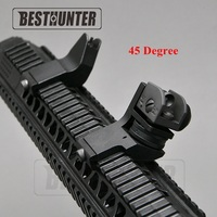 Tactical AR15 Hunting Flip Up Front Rear 45 Degree Adjustable Rapid Transition Backup Iron Sight Set