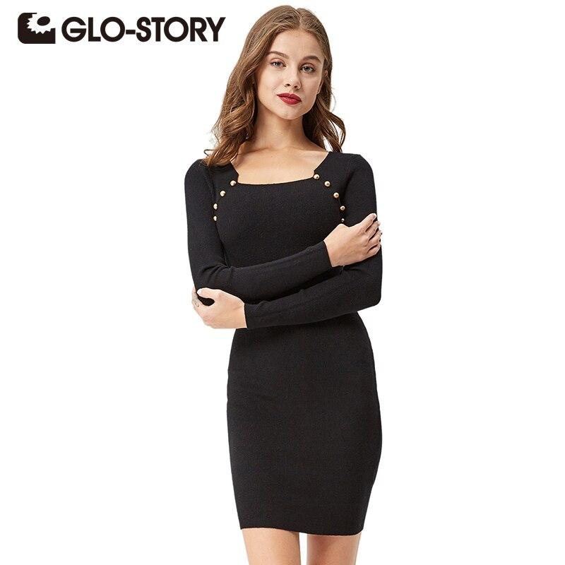 f19603d62 GLO-STORY سترة اللباس للنساء 2018 الخريف أزياء أنيقة فستان بكم طويل مثير  حزب Bodycon حك الديكور فساتين 3312