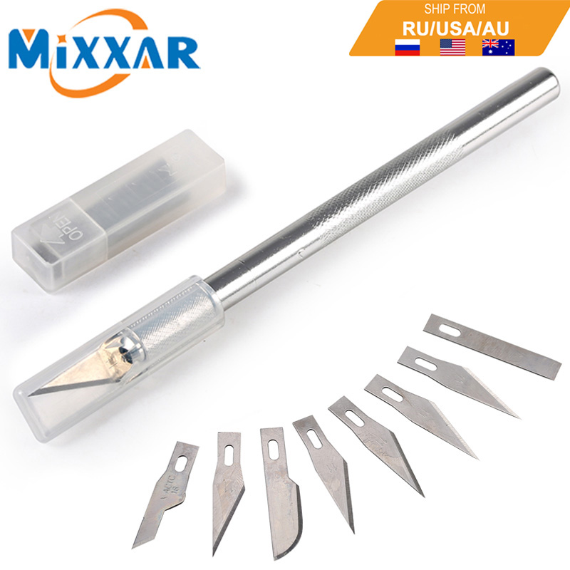 ZK20 Metal Handle Scalpel 9 Blades Knife Wood Paper Cutter Craft Pen Knives Engraving Knife DIY Repair Hand Tools Мотоцикл