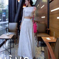 Free Shipping 2017 New Fashion Plus Size S-9XL Summer Sexy Lace Twinset Perspective Short Tops And Long Maxi Skirt Customized