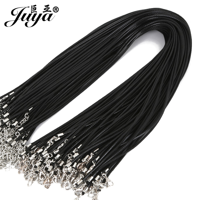 20pcs/lot 1.5mm Black Genuine Leather Cord Adjustable Braided 45cm Rope For DIY Necklace Bracelet Jewelry Making Findings JD0003