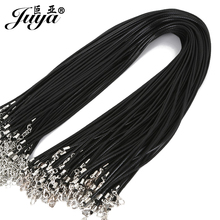 20 unids/lote 1,5mm Cordón de cuero genuino negro ajustable trenzado 45cm cuerda para DIY collar pulsera joyería haciendo hallazgos JD0003