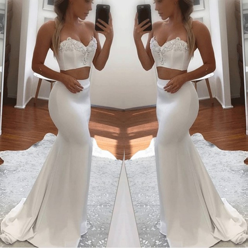 Sparky Sweetheart Neck Mermaid Long   Bridesmaid     Dresses   2018 Sexy Two Pieces Crystal Beaded Party Gowns Robe De Soiree Prom   Dress