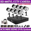 HD 1080p 960H 8CH smartphone view security video surveillance CCTV System onvif IP NVR DVR kit 800TVL outdoor security camera
