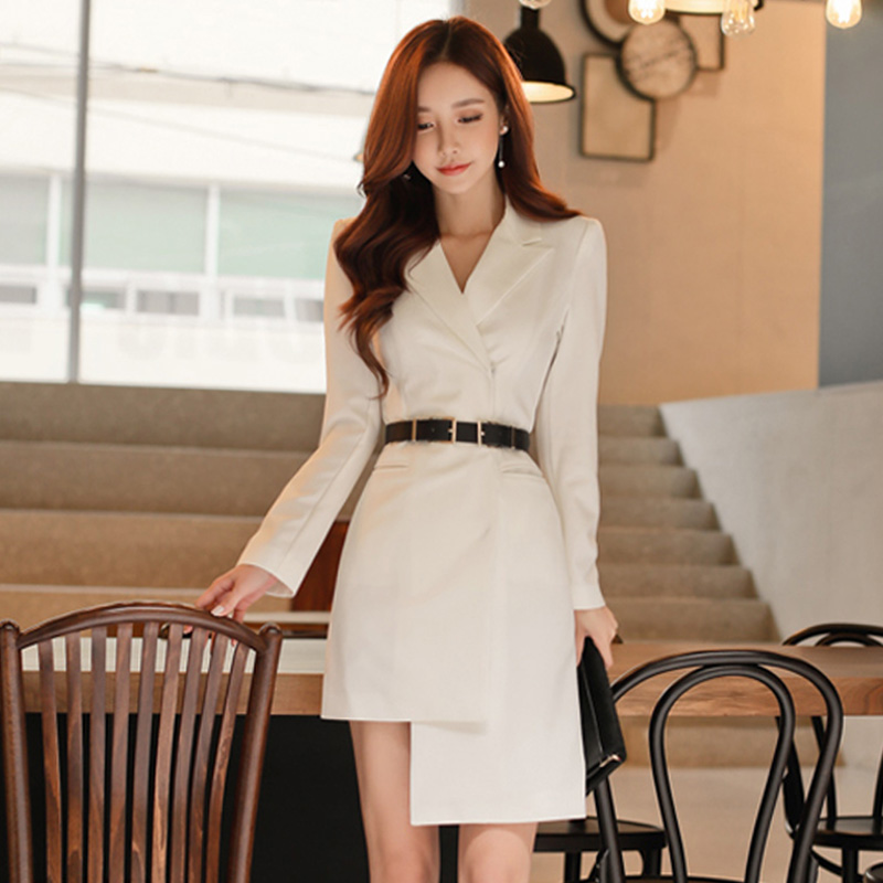 Autumn Elegant Single Breasted Notched Women Blazer Dress Irregular Sashes OL Style Dress High Waist Bodycon