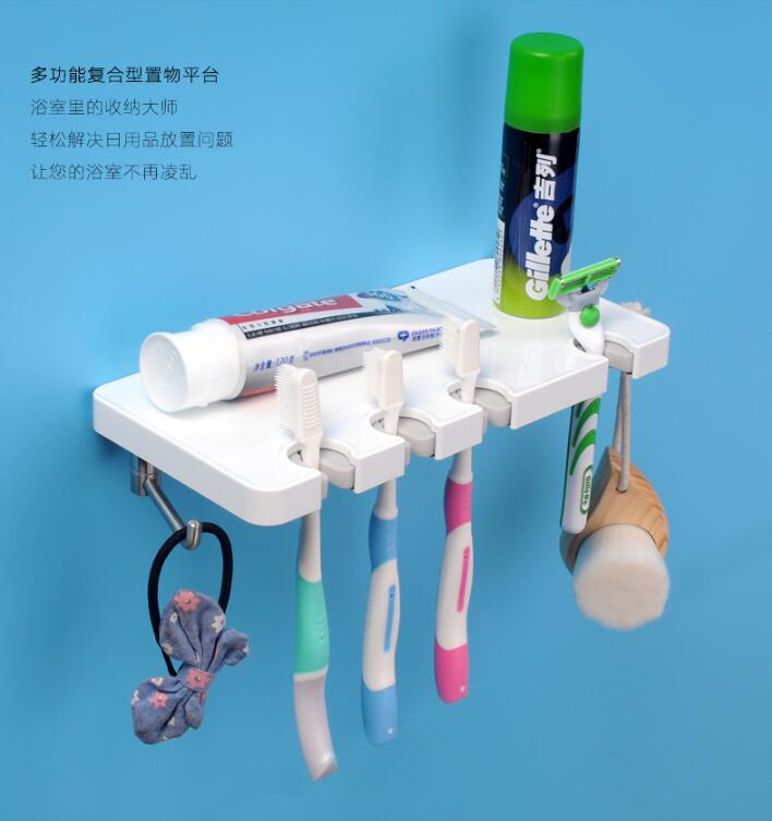 Fashion Bathroom accessories ABS and stainless steel Toothbrush holder man shave holder convenient sucker five place abs white toothbrush holder