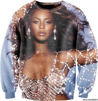 2014 New Fashon Men Women S 3D Sweatshirt Graphic Print Character Beyonce Giselle Knowles Sweater Shirt