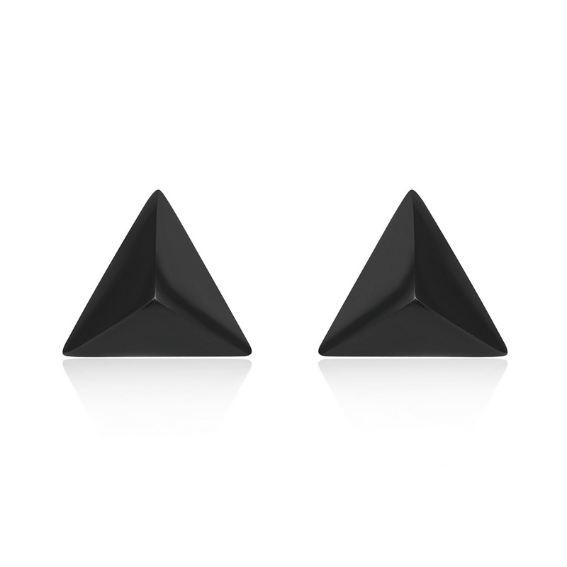 FANSER Minimalist Triangle Black Gold Stud Earrings S925 ...