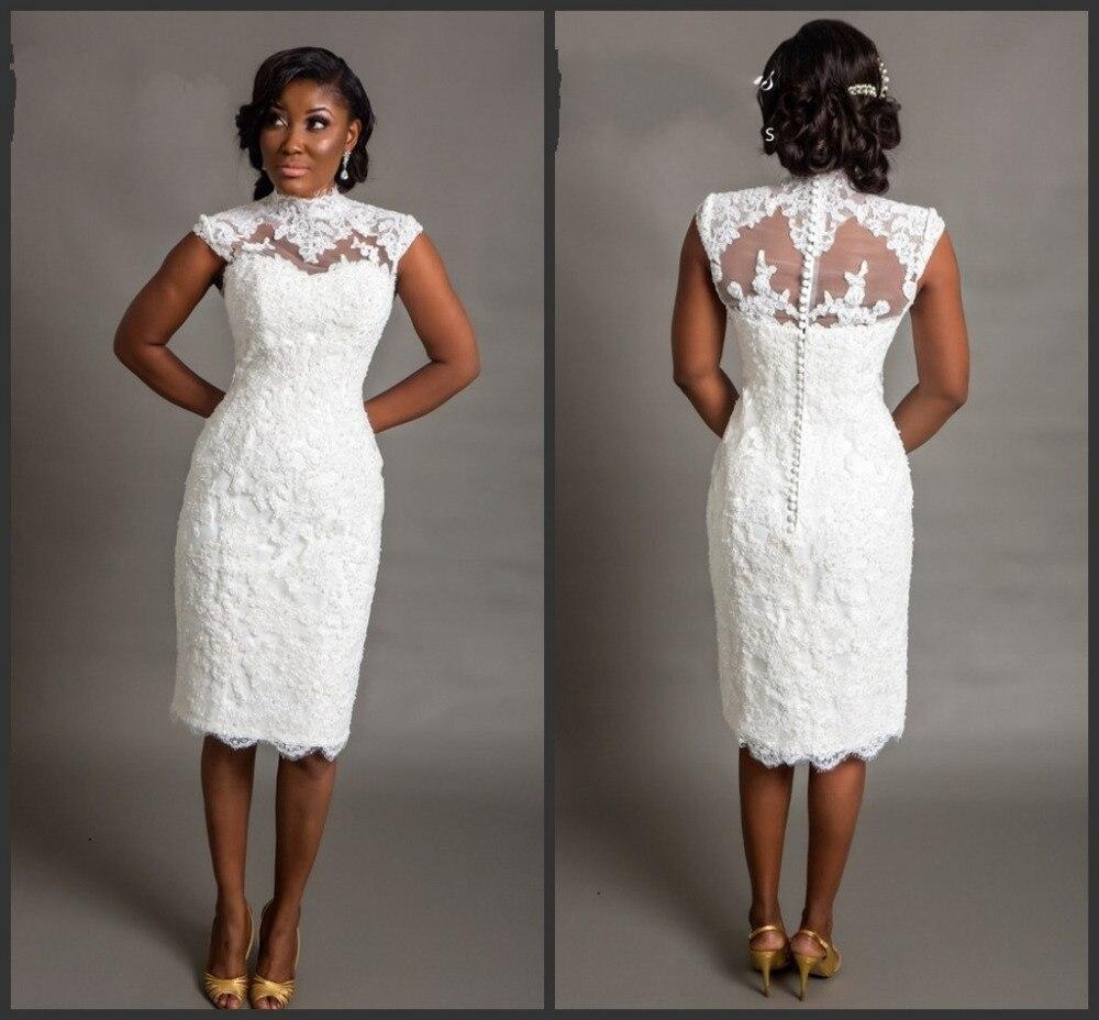 Платье свадебное кружевное до колен