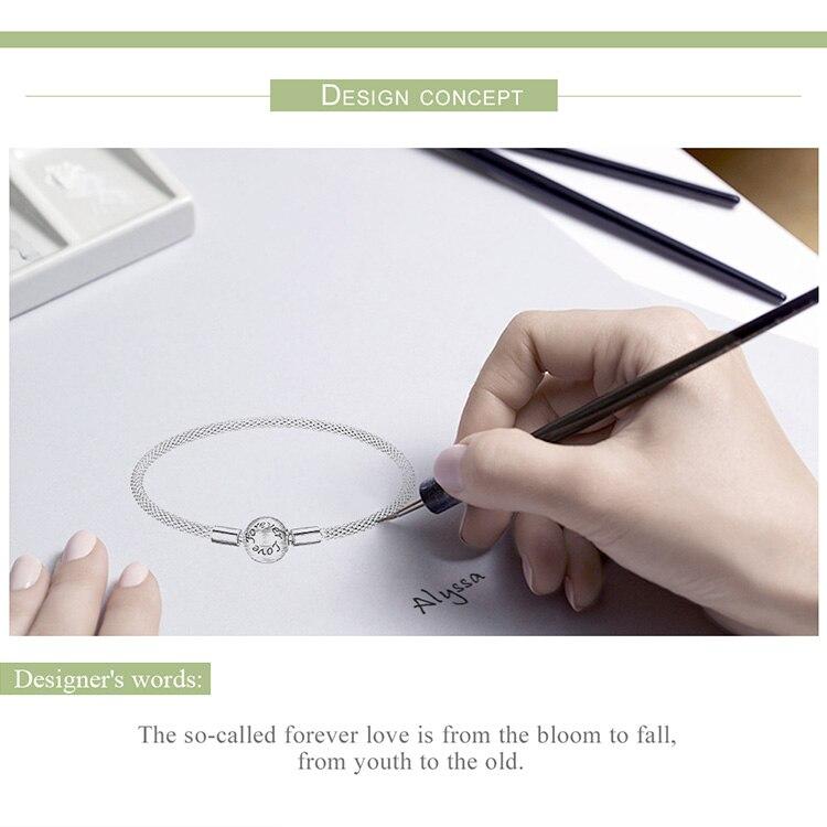 Bamoer clássico 100% 925 prata esterlina amor