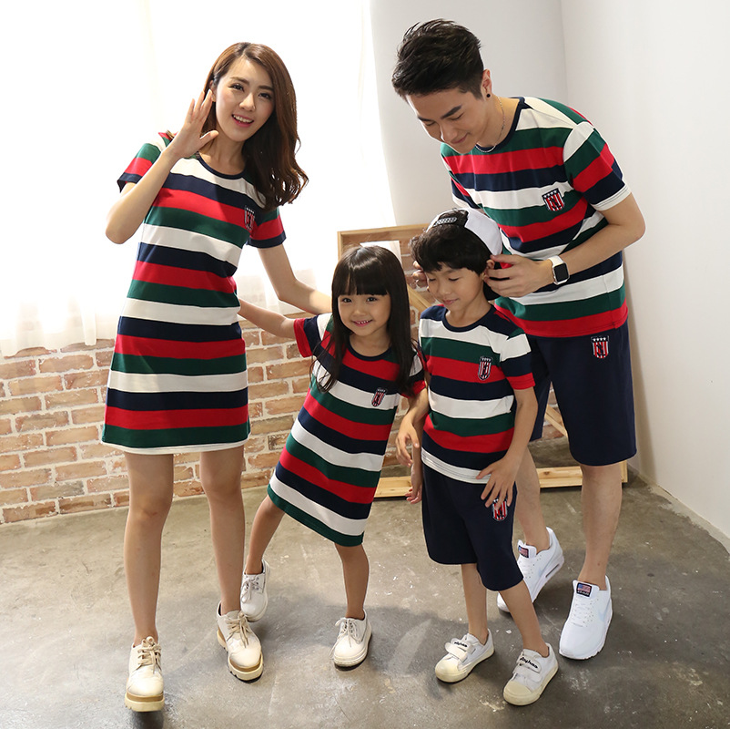 a669bb3d 2018 Family Look Summer Fashion Striped Father Son Shirt Shorts Sets Mother  Daughter Dresses Dad Mom Kids Family Matching Outfit