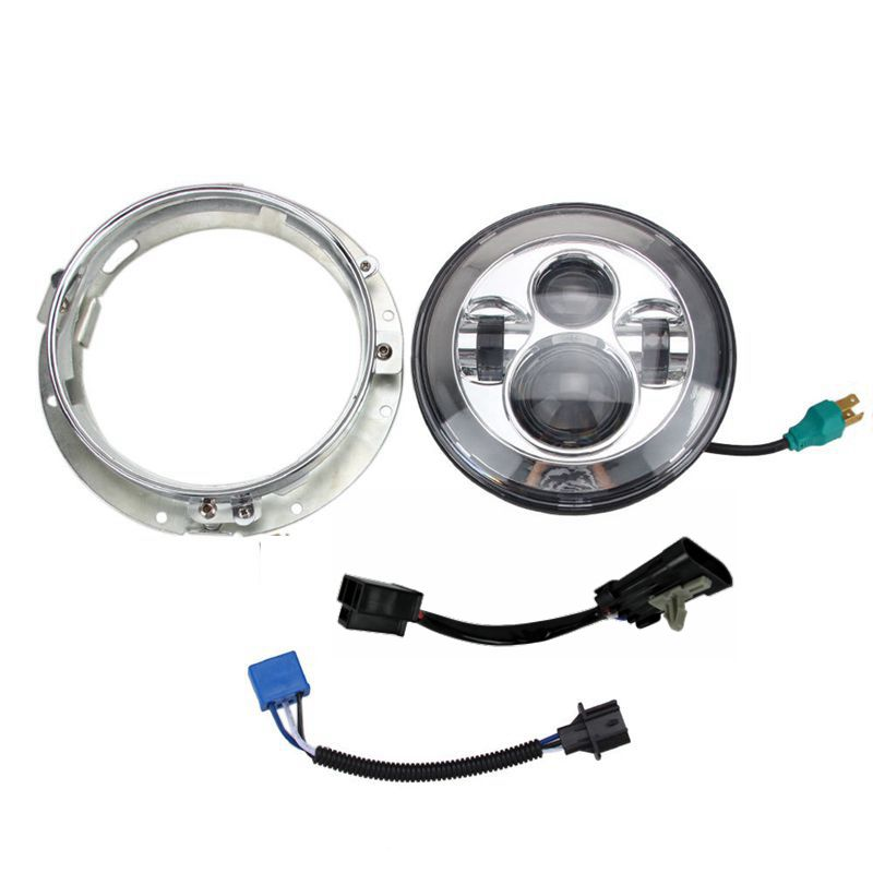 7 Motorcycle Headlight LED w/Chrome Mounting Bracket for Harley Davidson Electra Glide Softail Street Glide & Adapter 69200897 motorcycle clutch derby cover gasket for harley davidson touring dyna softail electra street glide