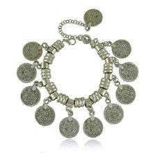 Punk Silver Coin Bracelet Adjustable
