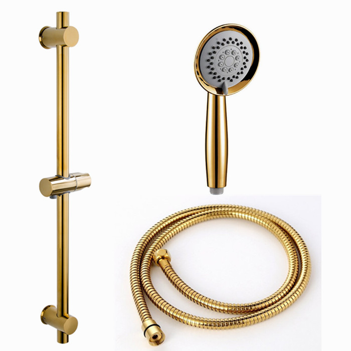 Sliding-Bar Shower-Hose Stainless Bathroom SUS304 Gold with Height-Adjustable for Metal