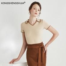women cotton polo shirt high quality latest design ladies vintage tops 8168