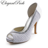 Sweet Pumps for Bride EP11044-IP White Peep Toe Pleated Rhinestone Platform Stiletto Heel Satin Wedding Woman Shoes