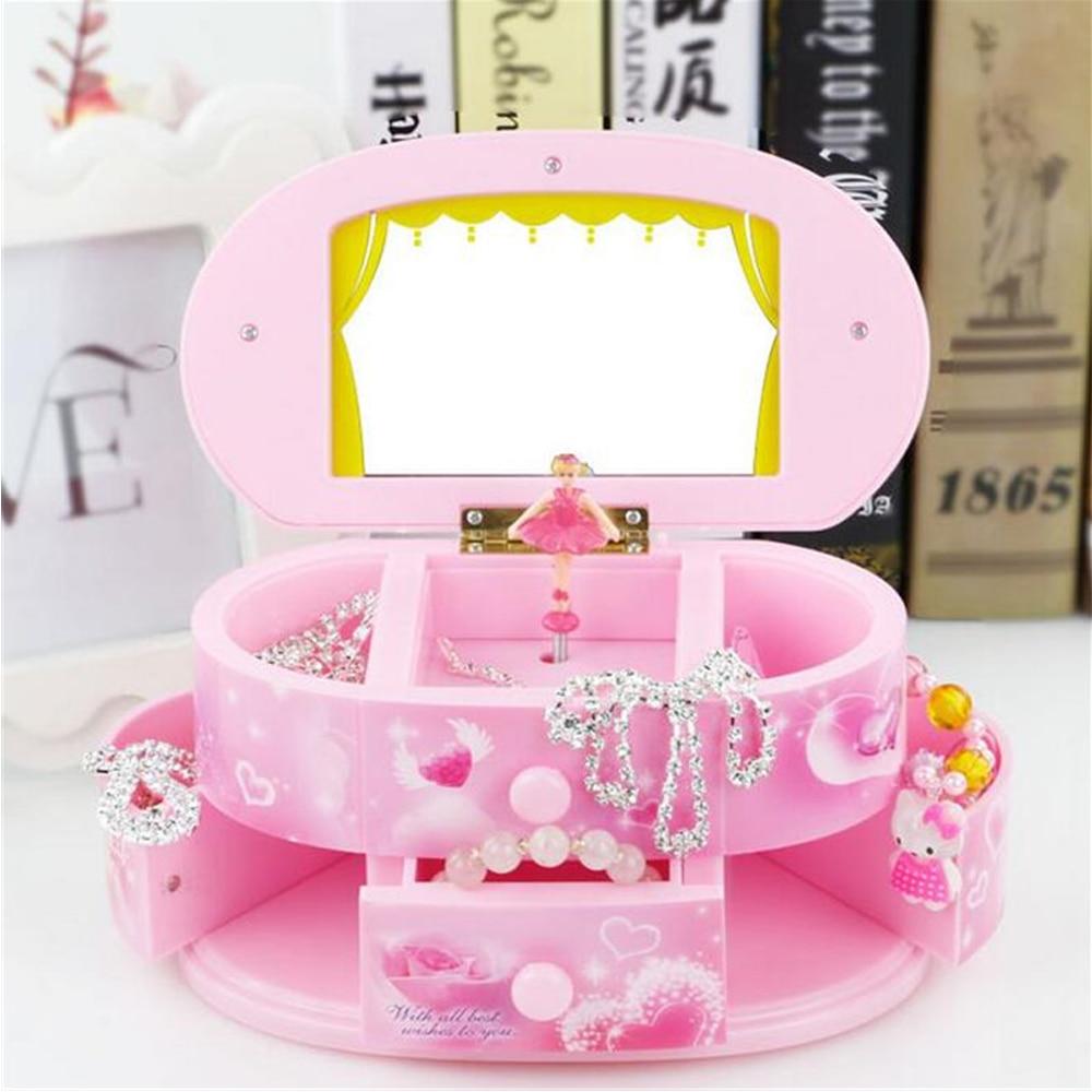 Pink Beautiful Ballet Dancer Doll Music Box Jewelry Organizer Make Up Box Portable Musical For Kids Girls Children Gift