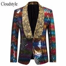 Cloudstyle 2018 Male Sequins Performace Suit Jacket Men Hip Hop Style Fashion Striped Patchworked Party Blazer Men Plus Size 5XL