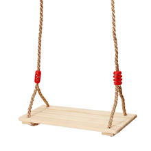 Adults and children swinging swings swinging wooden swing with rope