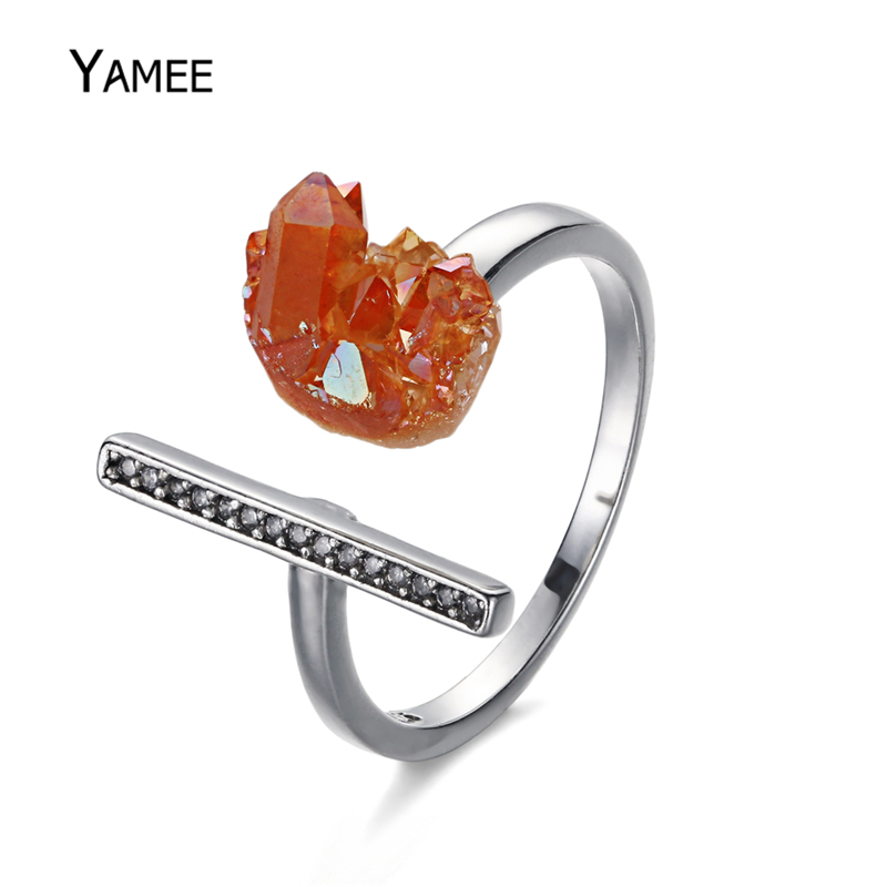 Unique Opening Ring Raw Mineral Natural Stone Druzy Quartz Pave Zircon Fashion Rings For Women Men Charm Statement Jewelry Gift