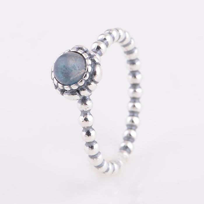 Original Authentic 925 Sterling Silver Birthstone Rings Ocean Blue Color  Vintage Ring Compatible with Pandora Fashion Jewelry-in Rings from Jewelry  ...