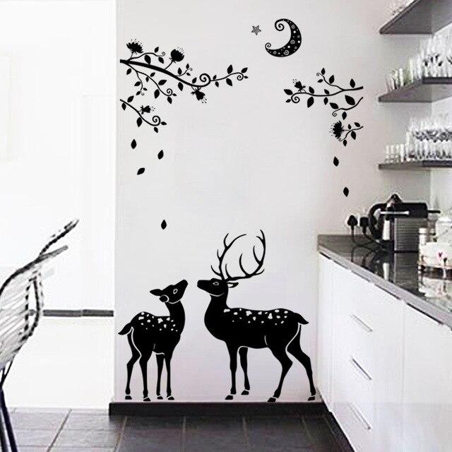 Awesome Schwarz Dark Elch Silhouette Baum Leben Dekorative Kinder Wandaufkleber  Wohnzimmer Dekorative Aufkleber Wandtattoo Wandtapete Kunst