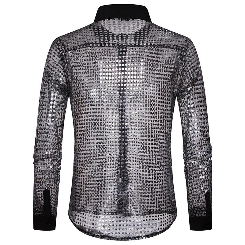European Fashion Men's Plaid Shirts Autumn And Winter Glitter Big Body Point Scale Night Shop Design Men's Long Sleeve Shirt 3