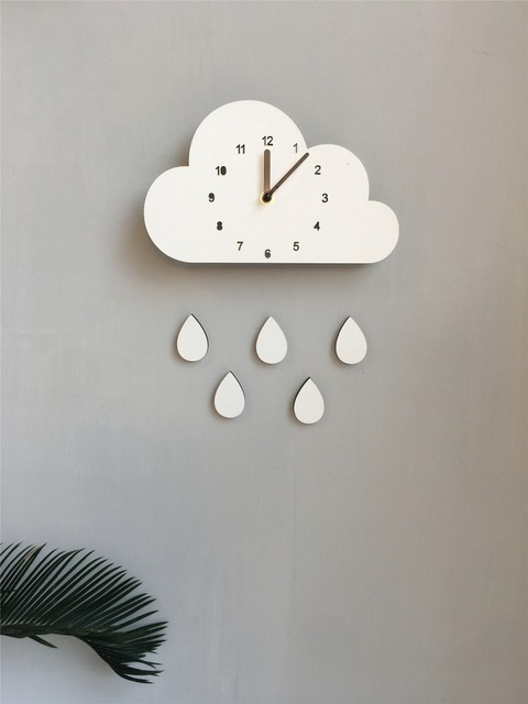 New Nordic Style Wooden Cloud Raindrop Watch Wall Hanging Decoration Scandinaivan Style Wall Decor Nordic Style Kids Decoration