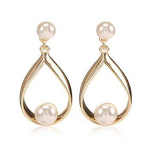 High Quality Europe Classic Romantic Alloy Pearl Drop Earrings Fashion Jewelry Accessory For Woman-HCAWER001F