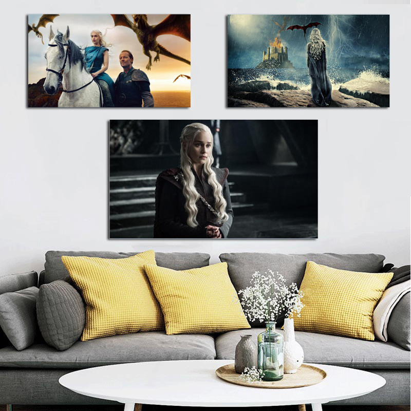 Beauty Daenerys On Game Of Thrones Canvas Painting Prints Living Room Home Decor Modern Wall Art Oil Painting Posters Pictures in Painting Calligraphy from Home Garden