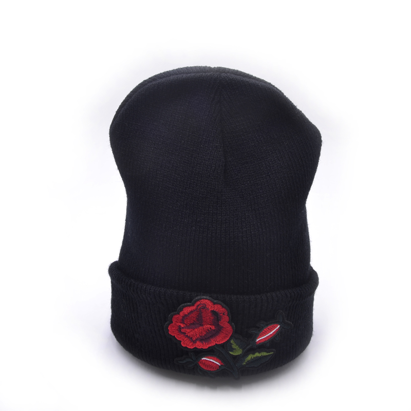 6colors autumn and winter Rose Hat Unisex Warm Cap Flower Knitted Casual Skullies Beanies Outdoor