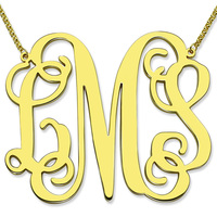 Gold Large Size Monogram Necklace XXL 2 Inch Pendant Monogram Personalized Initial Mother Jewelry