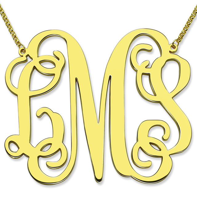 Gold color large size monogram necklace xxl 2 inch pendant monogram gold color large size monogram necklace xxl 2 inch pendant monogram personalized initial mother jewelry aloadofball Images
