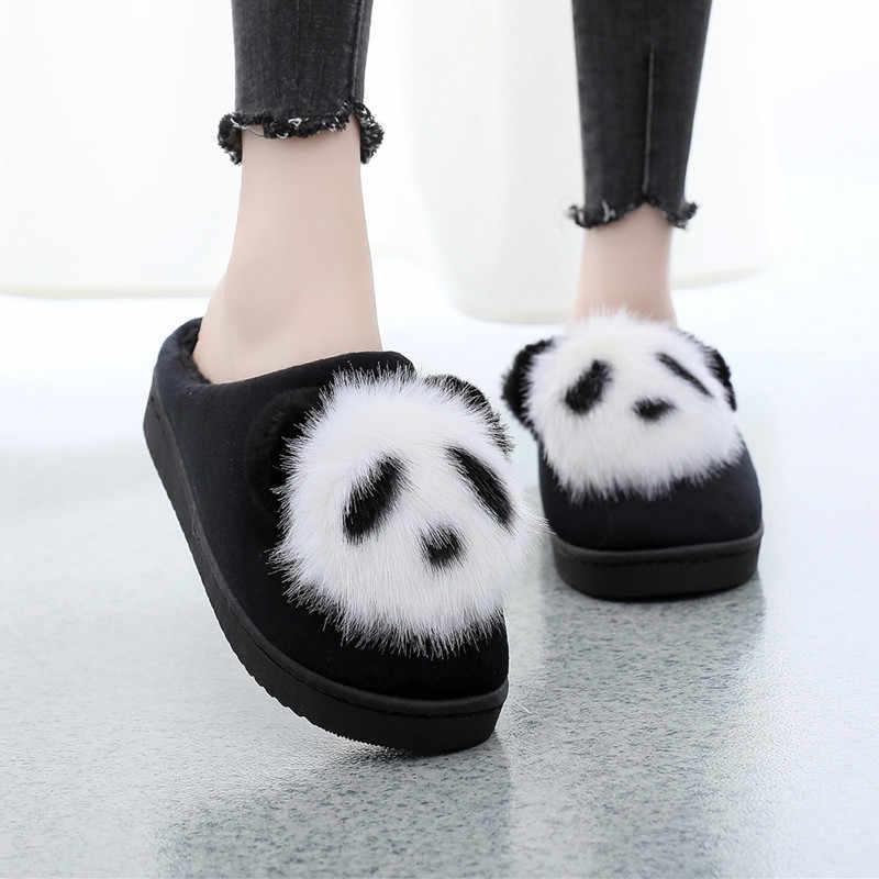 Steen Dorp Leuke Cartoon Animatie Panda Vrouwen Slippers Dames Antislip Slip Op Warm Pluche Slippers Indoor Home Slippers schoenen