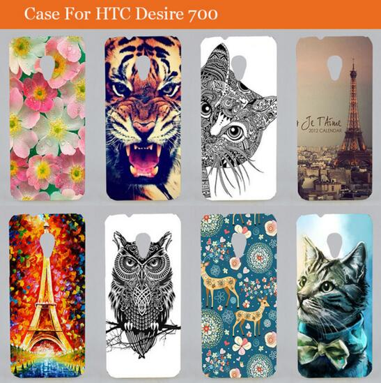 Fashion tower flower cat colored painting DIY hard cover <font><b>case</b></font> <font><b>for</b></font> <font><b>HTC</b></font> <font><b>Desire</b></font> <font><b>700</b></font> 7060 7088 <font><b>Dual</b></font> <font><b>Sim</b></font> Back Cover <font><b>for</b></font> <font><b>HTC</b></font> <font><b>700</b></font> image