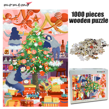 MOMEMO Christmas Eve Wooden Adult Jigsaw Puzzle 1000 Pieces Cartoon Hand Painted Decompression Game Toys for Kids