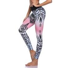 Купить с кэшбэком Women Yoga Pants Sports Leggings White Print Fitness Wear Workout Sports Running Leggings Push Up Gym Elastic Slim Pants