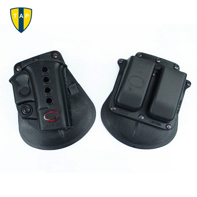 Military Tactical Airsoft Gun Holster RH Paddle GL2 For G17 19 22 23 31 32 34 35 Black Double Magazine Pouch 6900