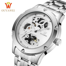 Hollow Skeleton Mechanical Watches Men Luxury Brand Waterproof Stainless Steel Wristwatch Relogio Masculino OUYAWEI Wholesale relogio masculino 2016 skone men s luxury brand military mechanical watches steel hollow skeleton watch relojes hombre