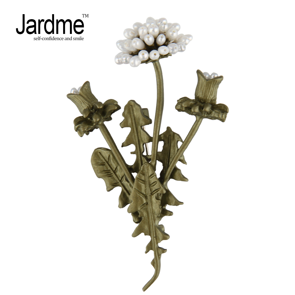Jardme Vintage Flowerses Natural Pearl Dandelion Branches Flowers Fashion Brooch Pin Corsage Scarf Jewelry