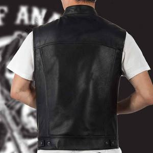Image 4 - 4 Styles Sons Of Anarchy Embroidery Leather Rock Punk Vest Cosplay Costume Black Color Motorcycle Sleeveless Jacket