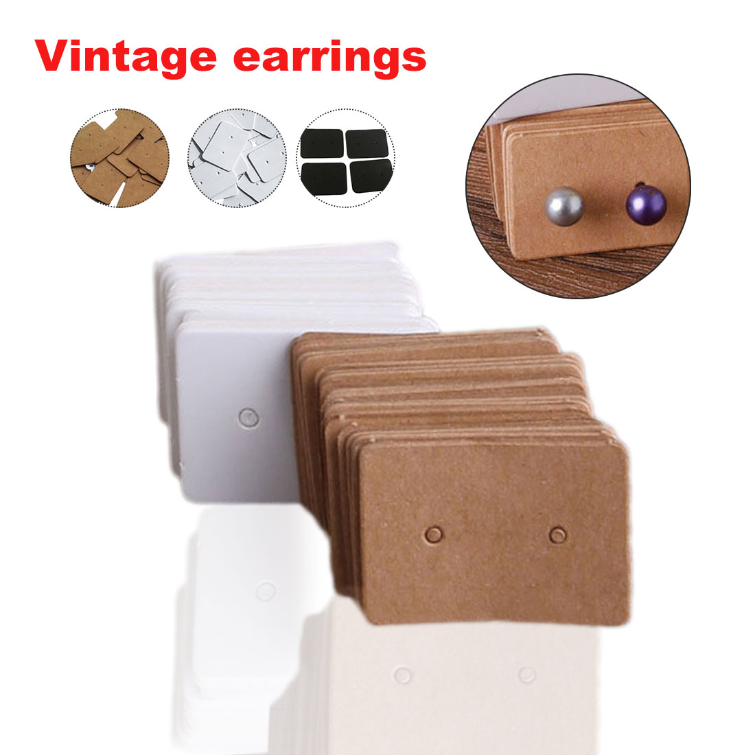 100 Pcs Kraft Paper Ear Stud Hang Tag Jewelry Display Card Earring Kraft Paper Tag Ear Ring Paper Hang Price Tag 2.5*3.3cm