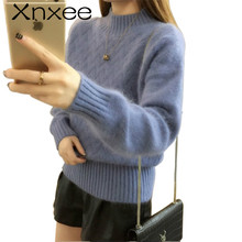 2018 Fashion Women Lose Sweater Pullover New Winter Solid Cashmere Knitting Autumn Female Casual Jumper Xnxee