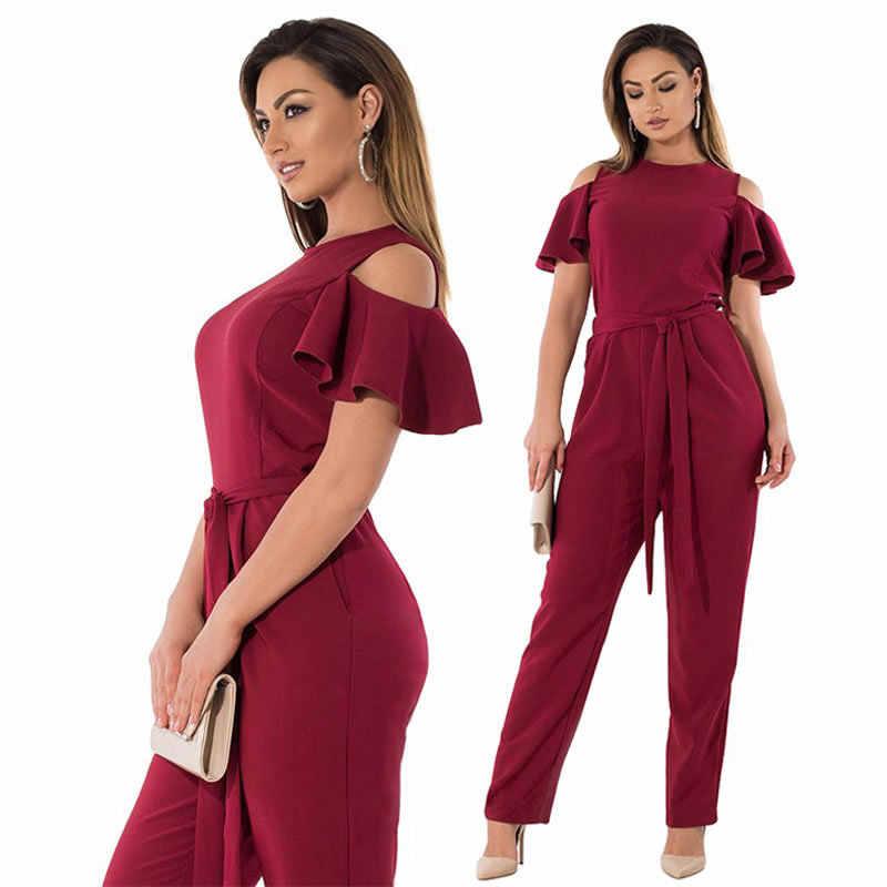 f04ffde763dd 2019 6XL Autumn Plus Size Jumpsuit Off Shoulder women Sexy Romper Overall  Pants Big Size Casual
