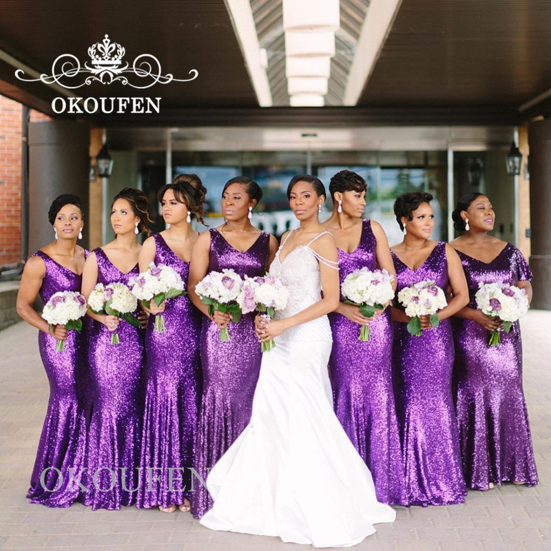 Sparkling Purple Sequined Mermaid   Bridesmaid     Dresses   For Women 2019 Deep V Neck Long Prom   Dress   Party Gown Vestido Madrinha