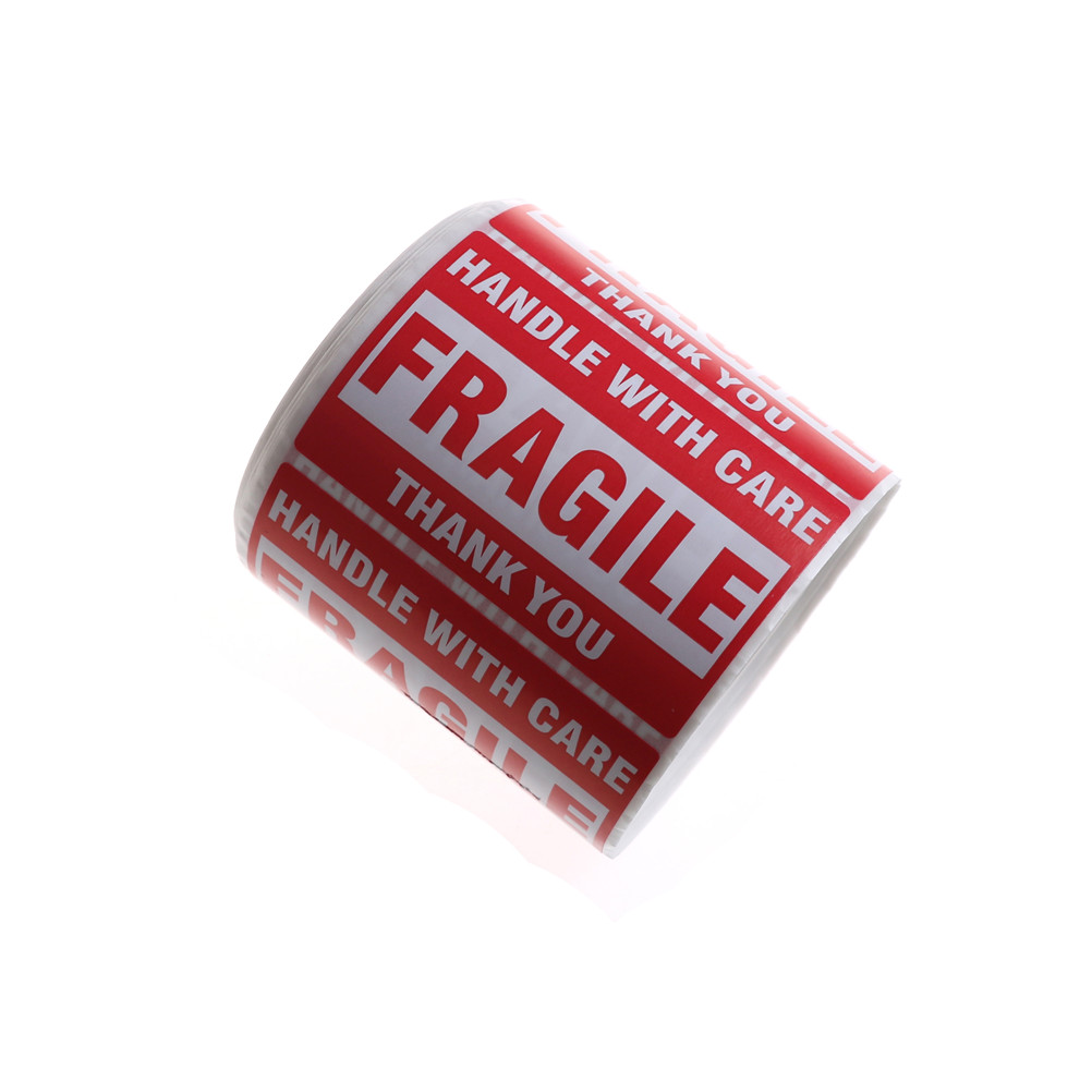 500Pcs/Roll Fragile Shipping Mailing Handle With Care Stickers Warning Sticker 51 mm x 76mm