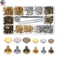 180Set 2Sizes Leather Rivets Metal Double Cap Round Rapid Rivet Tubular Metal Spike Studs with 3Pcs Fixing Tool for DIY Leather