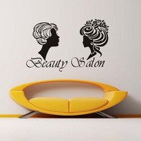 Two Different Hair Style Women Sticker Beauty Salon Wall Decor Barbershop Removable Vinyl Fashion Art Bathroom