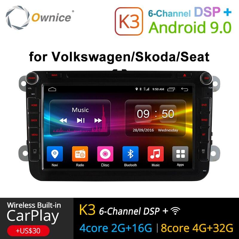 4G SIM LTE Rede Ownice K1 K2 K3 8 Octa Núcleo Android 9.0G RAM 2 2 Din Carro 2 Rádio Leitor de DVD GPS Navi Para VW Skoda Octavia